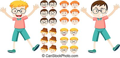 Little boys with facial expressions illustration
