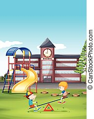 Two boys playing seesaw at school illustration