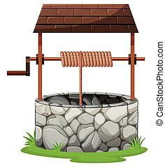 Stone well with rooftop illustration