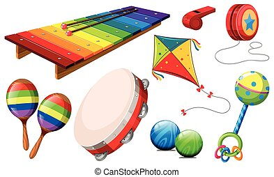Different kind of musical instruments and toys illustration