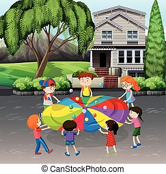 Children playing balance balls on the street illustration