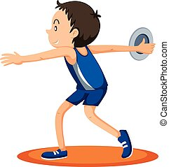 Man athlete throwing discus illustration