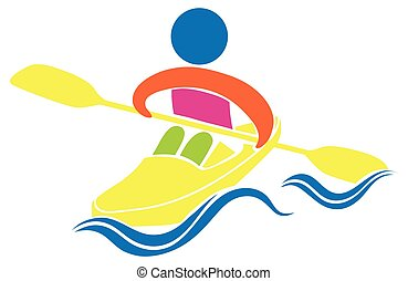 Kayaking icon on white background illustration