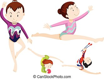 Women athletes doing gymnastics with objects illustration