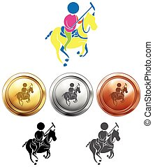 Polo icon and sport medals