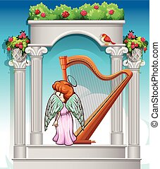 Angel with harp in heaven