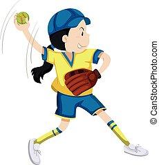 Girl with softball glove and ball