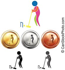 Croquet icon and sport medals illustration