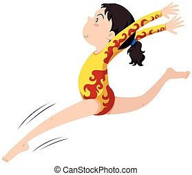 Girl in gymnastics outfit jumping illustration