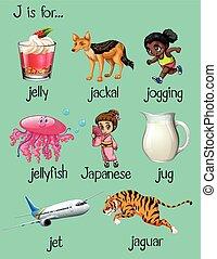 Words begin with letter J illustration