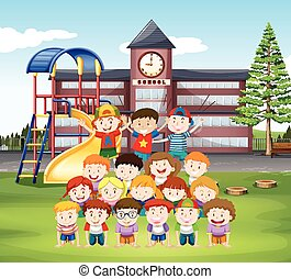 Kids doing human pyramid at school illustration