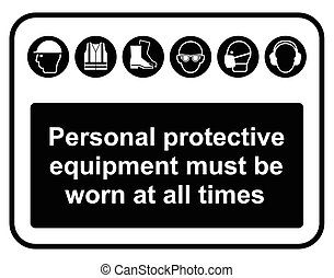 Black Personal Protection Equipment - Black construction...