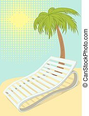 Sunbed under palm tree on tropical beach. Retro cartoon...