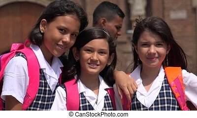 Smiling Young School Girls