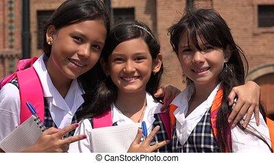Smiling Happy School Girls