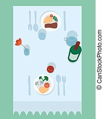 Vector illustration of flat table for two