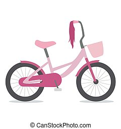 Flat illustration of children bike for girls with basket