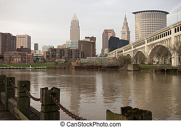 Cleveland Ohio Downtown City Skyline Cuyahoga River -...