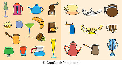 Coffee objects collection art illustration image isolated