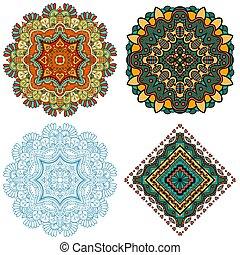 Mandala Square ornament - Set of Mandala Square ornament,...