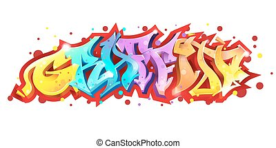 Graffiti lettering on white background.