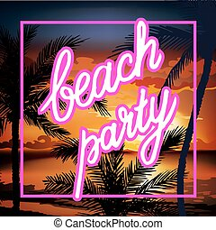 Hello Summer Beach Party Flyer. Summer sunset vector...