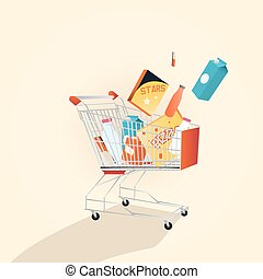 Supermarket shopping cart full with various freshgrocery products.