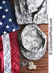 Military Fatigues Flag Dog Tags - Top view of military...