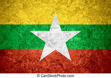flag of Burma, Myanmar - flag of Burma or Burmese banner on...