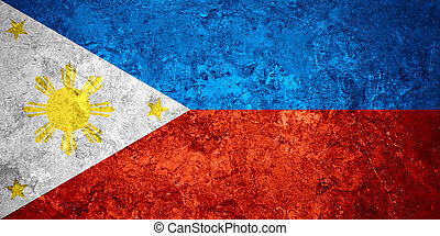 flag of Philippines or Filipino banner on vintage background