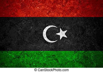 flag of Libya or Libyan banner on vintage background
