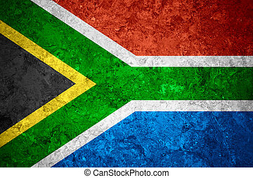 flag of South Africa or South African banner on vintage...