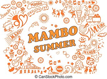 Various attributes of summer holidays in the mambo style -...