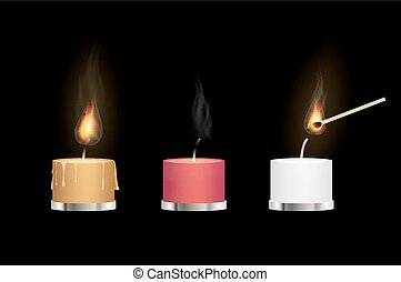 yellow red and white aroma candles