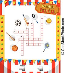 Word puzzle game with sport equipments illustration