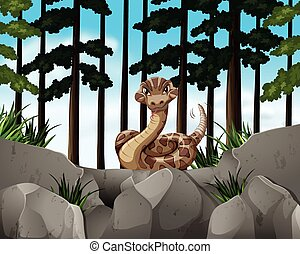 Forest scene with wild snake