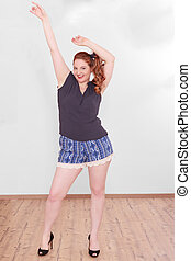 Chubby woman with stretched your arms up - Chubby woman with...