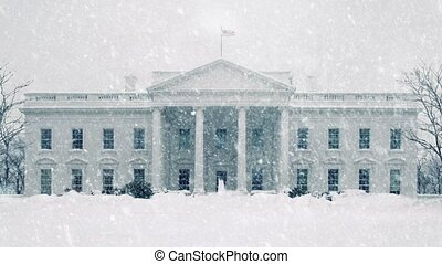 The White House In Snowstorm - The White House in heavy...