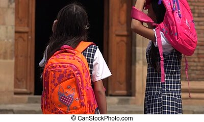 School Children With Backpacks