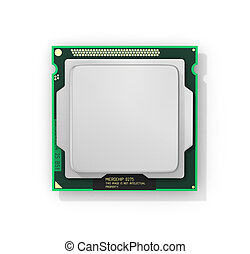 Processor. Computer processor with blank space. Hardware. 3d...