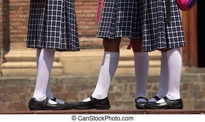 School Girls Wearing White Socks Skirts