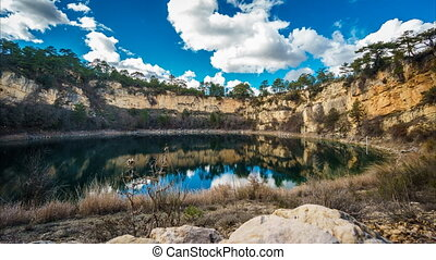 Wide angle of round lakes in palancares, Cuenca Sliding...
