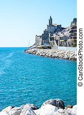 view of portovenere rock - view of italian sea at...