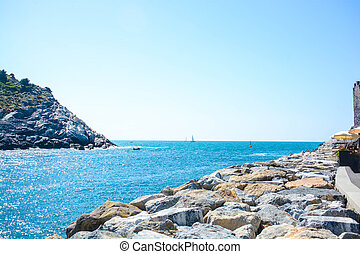 italian sea view - view of italian sea at palmaria and...