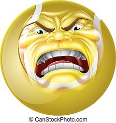 Angry Tennis Ball Sports Cartoon Mascot - An angry mean...