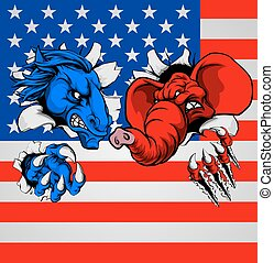 Democrat Republican Elephant Donkey Fight - American...