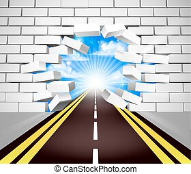 Road Breaking Wall Concept - A road breaking through a white...