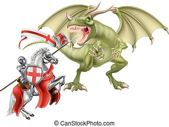 Saint George Fighting the Dragon - An illustration of St...