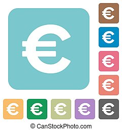 Flat euro sign icons on rounded square color backgrounds