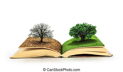 Concept of changes. Open book. One side full of grass with a...